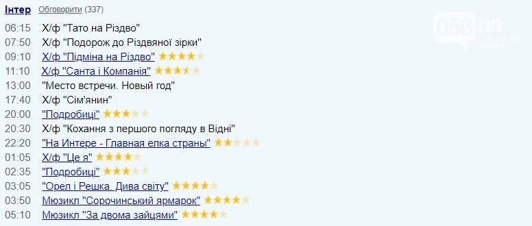 """TV-програма на 1 січня: """"Інтер"""""""