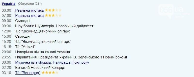 "TV-програма на 31 грудня: ""Україна"""