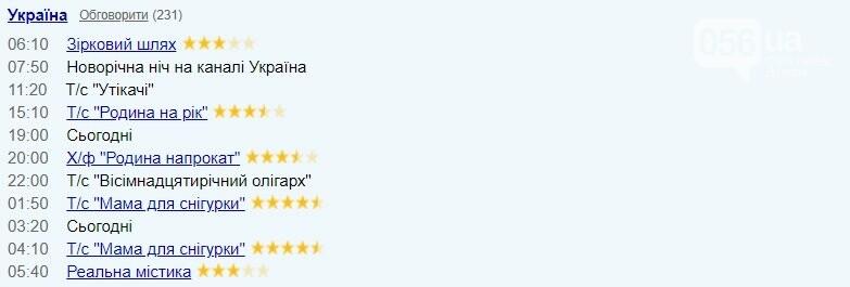 "TV-програма на 1 січня: ""Україна"""