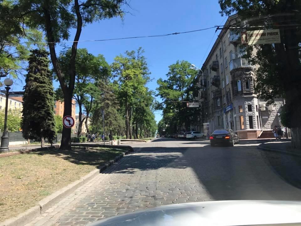 В центре Днепра перекрыли проезд через перекресток: дорожный знак прибили к дереву, - ФОТО, фото-2