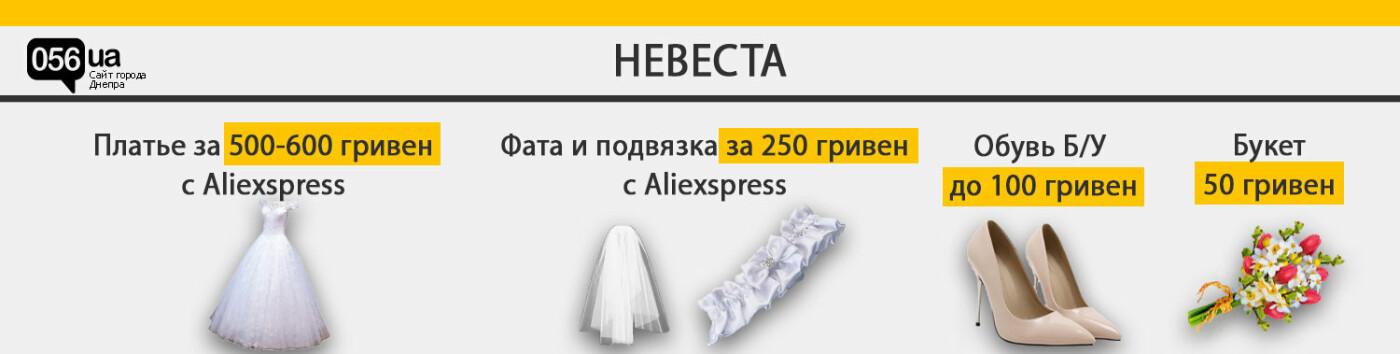 Платье с Aliexpress, букет с рынка и одолженный по частям костюм: как организовать самую дешевую свадьбу в Днепре, - ИНФОГРАФИКА, фото-1
