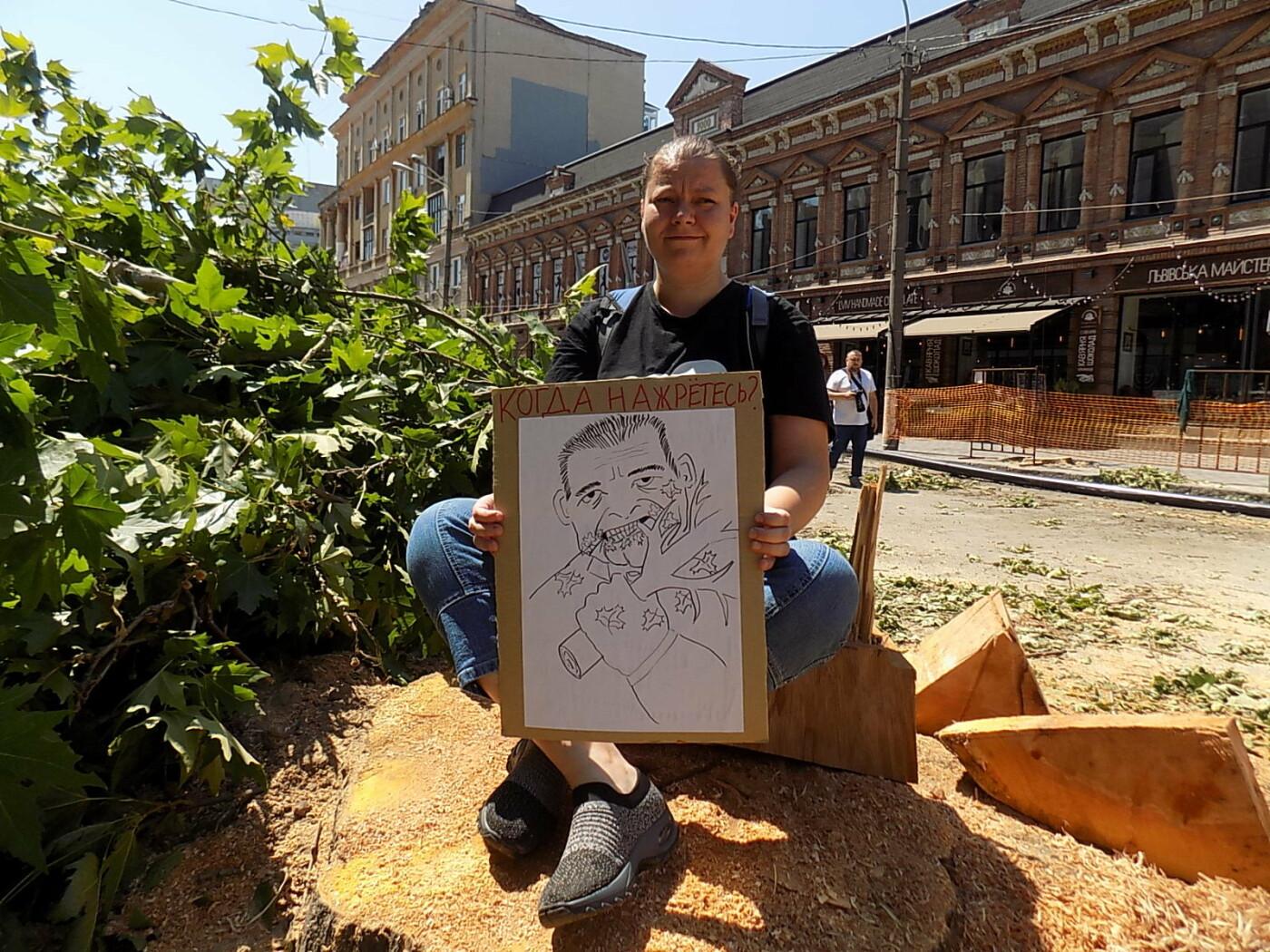 В Днепре провели «похороны» деревьев с Короленко: последние деревья срубили, пока город спал, - ФОТО, фото-7