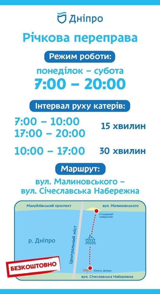 В Днепре завтра начнет работать бесплатное речное такси: график работы, фото-1