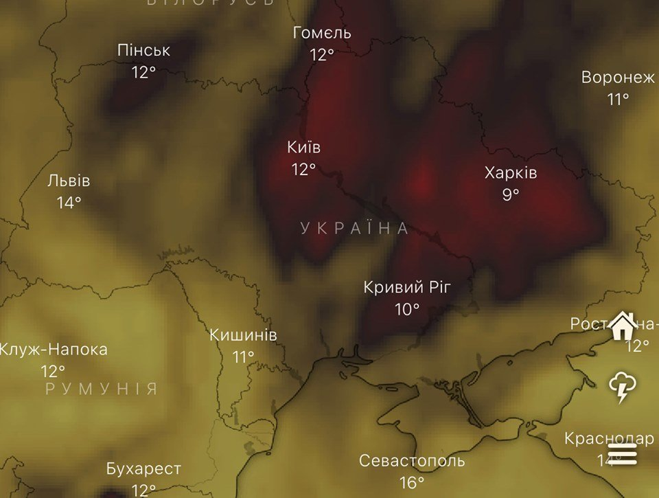 Над Украиной и Днепром сейчас самая высокая концентрация угарного газа в мире, - КАРТА, фото-1