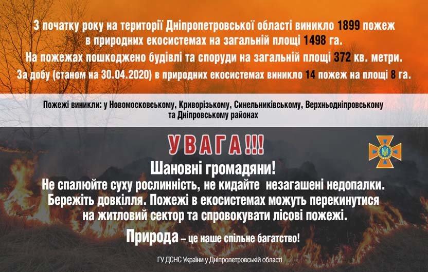 16 пожаров за сутки: спасатели просят жителей Днепропетровщины не сжигать траву, - ФОТО, фото-1