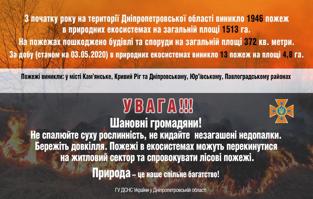 13 пожаров за сутки: спасатели просят жителей Днепропетровщины не сжигать траву, - ФОТО, фото-1