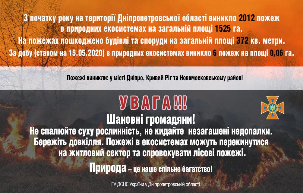 6 пожаров за сутки: спасатели просят жителей Днепропетровщины не сжигать траву, - ФОТО, фото-1