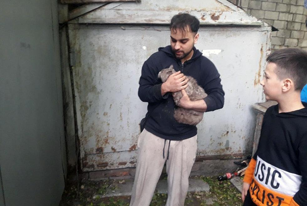 В Днепре спасатели помогли вытащить кота, застрявшего между стенками гаража, - ФОТО, фото-3