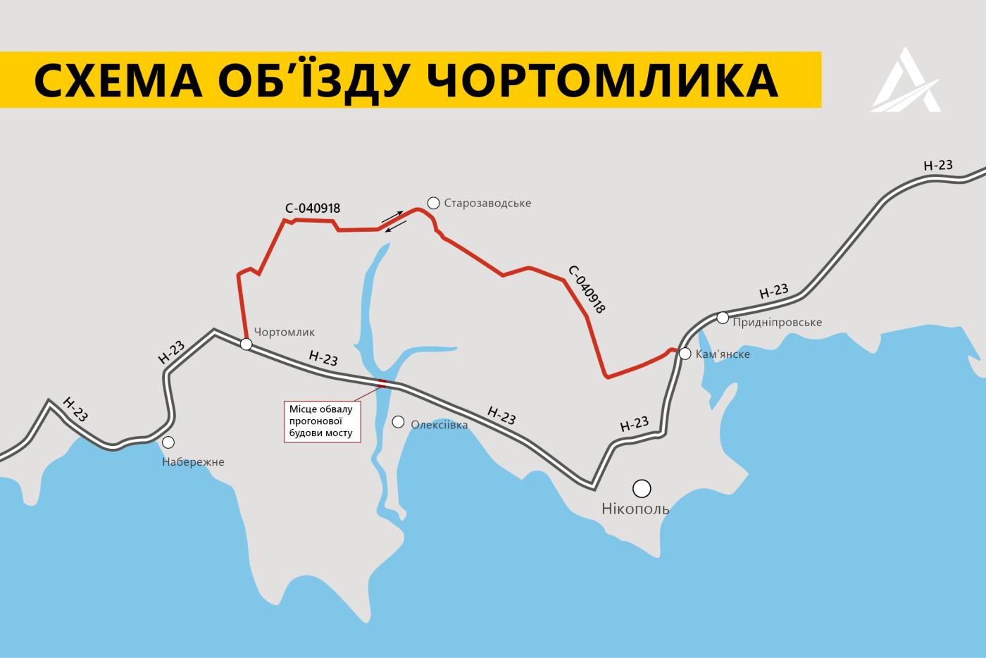 Как на месте рухнувшего моста в Днепропетровской области работают спасатели и вытягивают фуру, - ВИДЕО, фото-1