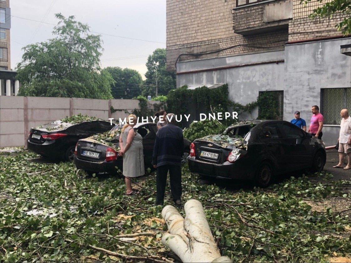 Деревья в лобовом стекле и сломанные заборы: последствия непогоды в Днепре, фото-3