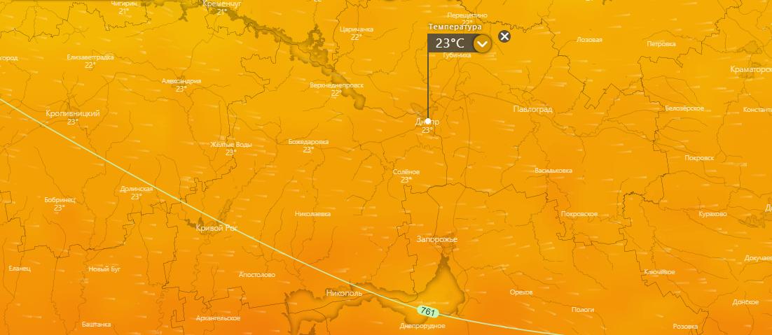 прогноз погоды в Днепре 15 июля, www.windy.com