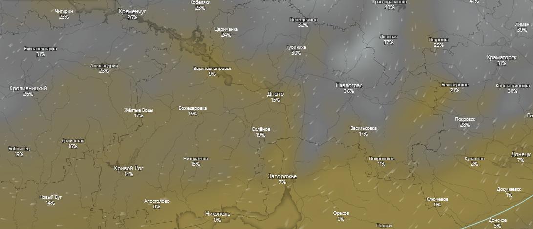 погода в Днепре, www.windy.com