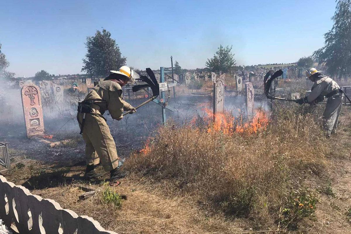 Под Днепром горела трава: огонь перекинулся на кладбище, - ФОТО, фото-1