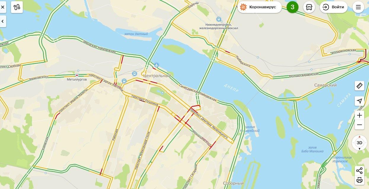 Теперь можно увидеть все пробки на дорогах Днепра