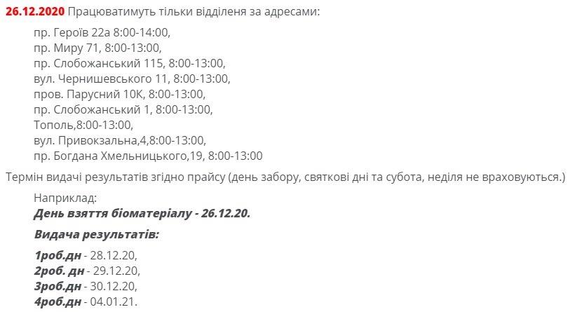 График работы отделений на 26.12.2020
