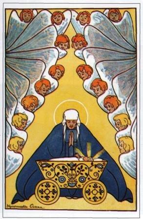 Для открыток Елены Кульчицкой характерно изображение ангелов и колоколов