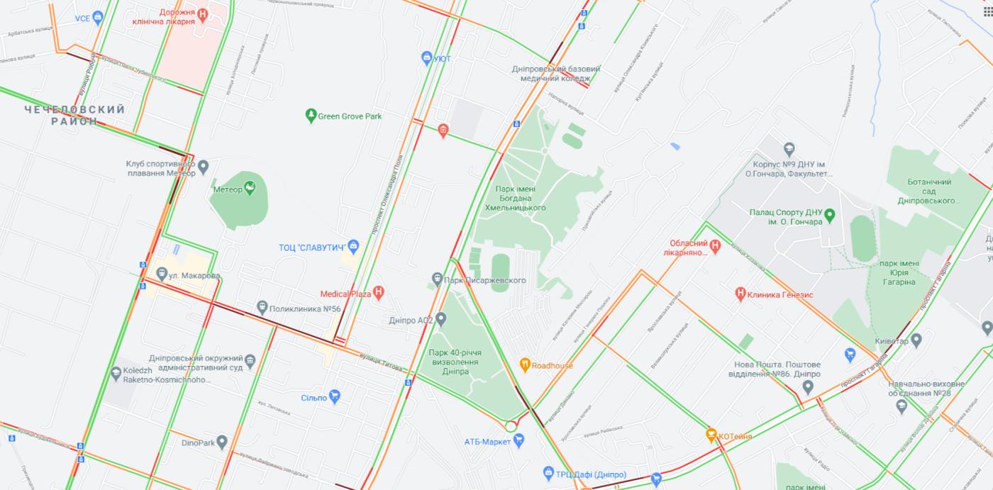 """Пробки в Днепре: какие улицы сейчас """"стоят"""", фото-3"""