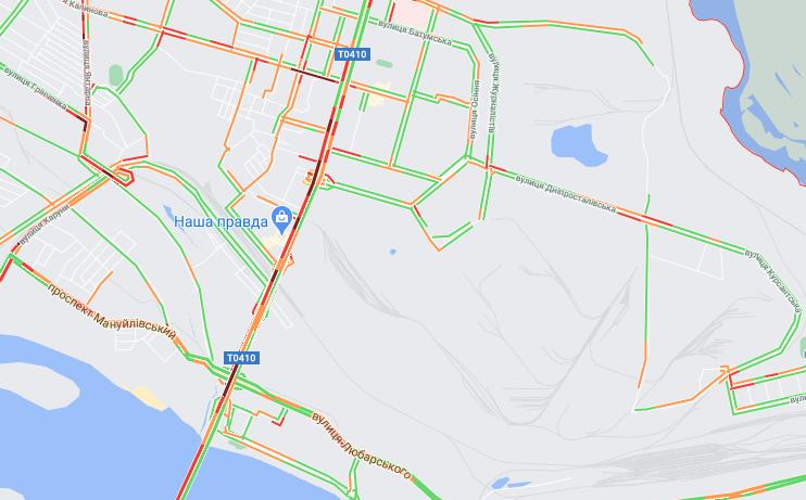 """Пробки в Днепре: какие улицы сейчас """"стоят"""", фото-2"""