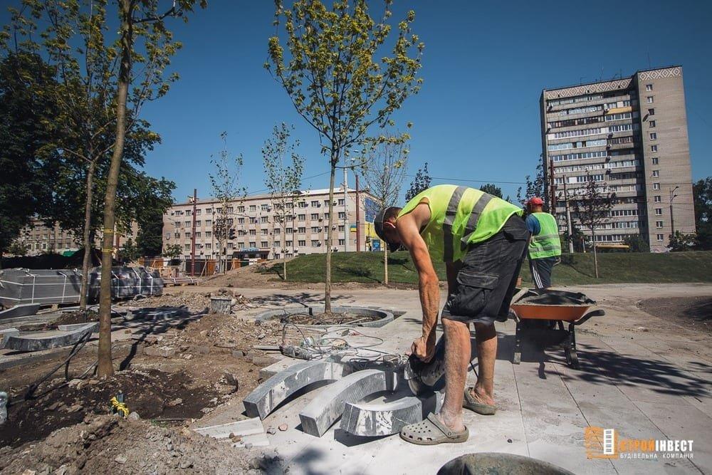 Процесс строительства нового сквера на проспекте Слобожанском показали с высоты птичьего полета, - ФОТО, фото-5