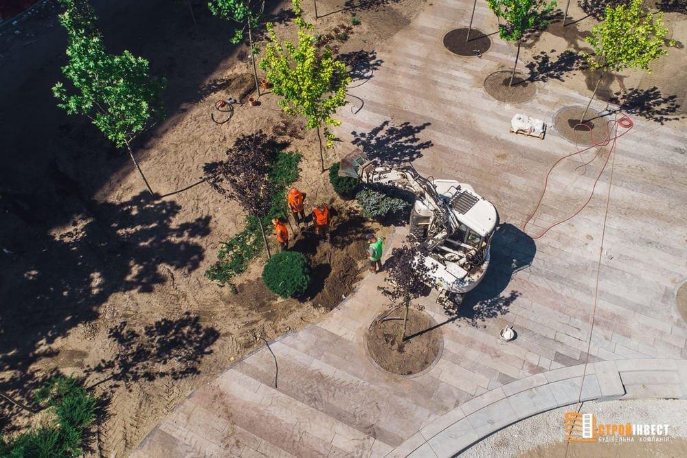 Процесс строительства нового сквера на проспекте Слобожанском показали с высоты птичьего полета, - ФОТО, фото-3