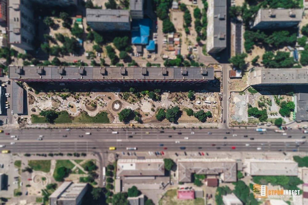 Процесс строительства нового сквера на проспекте Слобожанском показали с высоты птичьего полета, - ФОТО, фото-7